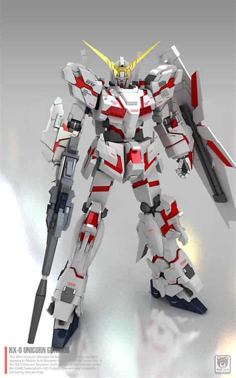 Gundam Unicorn Papercraft - gundam family gundam papercraft 1 23 unicorn gundam