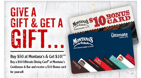 Bonus Gift Cards - montana s cookhouse canada 10 bonus gift card when you buy a 50 gift card