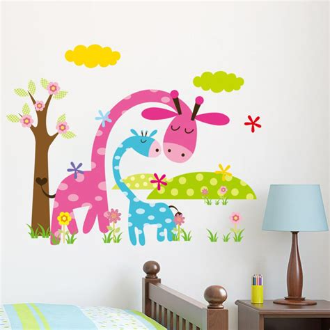 Kids Room Wall Stickers cartoon animal forest 3d wall stickers decals for nursery