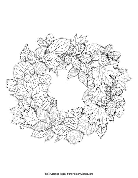 wreath coloring page fall coloring pages ebook leaves wreath free printable