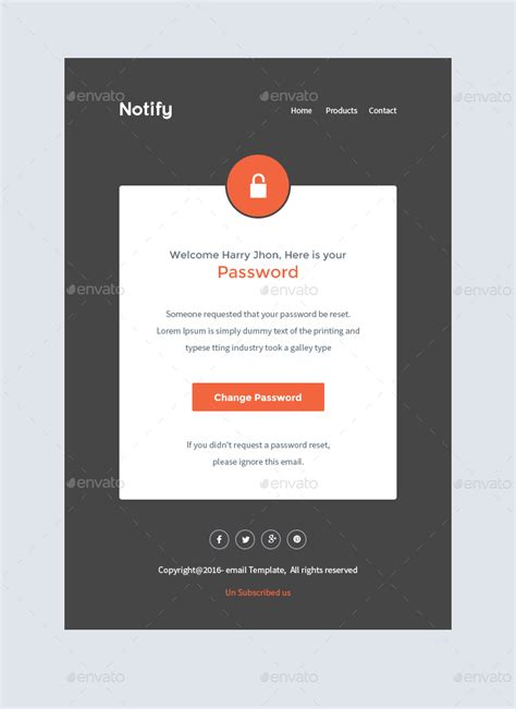 change password email template notify notification email template psd by