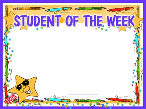 of the week certificate template prinable student of the week certificate for free