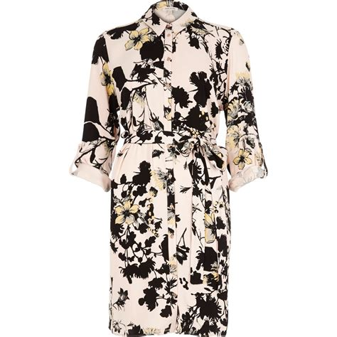 Shirt Dress Floral lyst river island pink floral print shirt dress in pink
