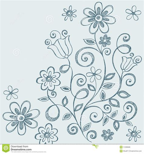 doodle of flowers flowers sketchy notebook doodles stock vector