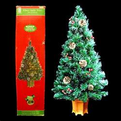32 inch fiber optic christmas tree with real pinecones