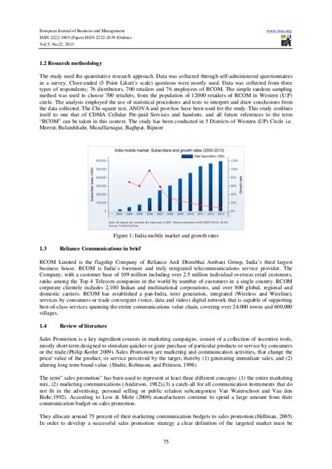 research paper on telecom sector in india a study on below the line promotion strategies of
