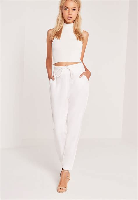 Highwaist Pant White missguided crepe wrap tie high waist white in white