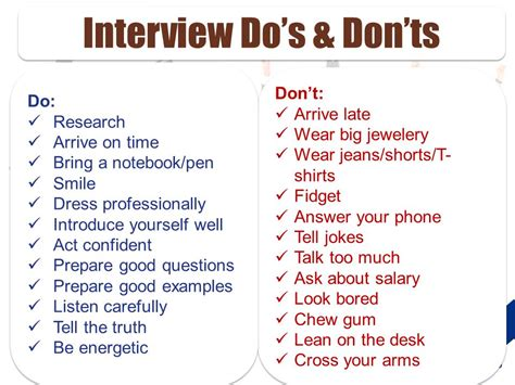 the dos and donts of interviewing interview tips search