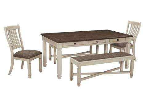 dining room table benches ivan smith bolanburg antique white rectangular dining room table w 2 benches and 2 upholstered