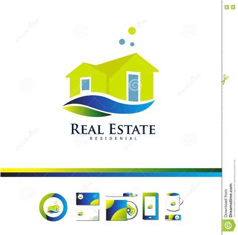 real estate house villa logo icon design stock vector