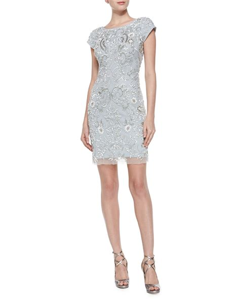 beaded mesh dress aidan mattox sleeve beaded mesh cocktail dress in