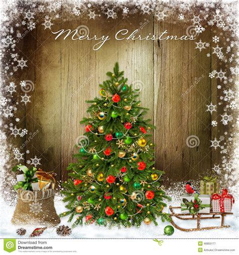 christmas greeting background  christmas tree  gifts stock illustration image
