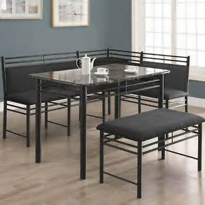 Kitchen dining room corner metal breakfast nook blk table bench chair