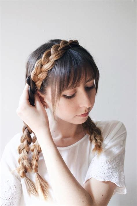 diy hairstyles for thick hair cute diy milkmaid braids for thick hair styleoholic