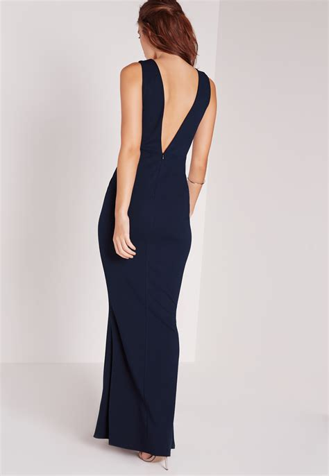 Lowback Dress missguided low back maxi dress navy in black lyst