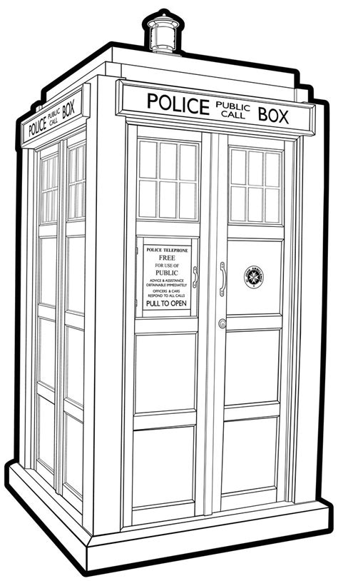 Tardis Doctor Who Line Art Drawing Coloring Tardis Ex B Tardis Coloring Page