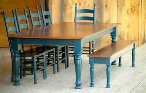 Painted Dining Table Bench Custom Wood Tables Handcrafted Farmhouse Dining Tables