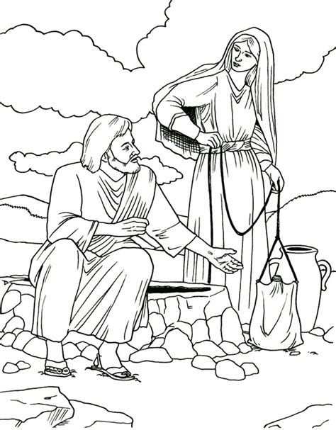The Gallery For Gt Woman At The Well Coloring Page Samaritan Coloring Page