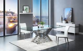 Rectangle Glass Dining Room Tables Modrest Modern Rectangular Glass Dining Table
