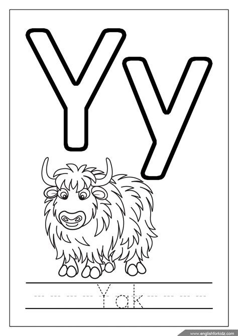 Letter Y Coloring Page by Yak Coloring Page Alphabet Letter Y Printable Coloring