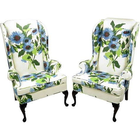 Floral Upholstered Chair by Pair Of And Bold Floral Linen Upholstered Wing
