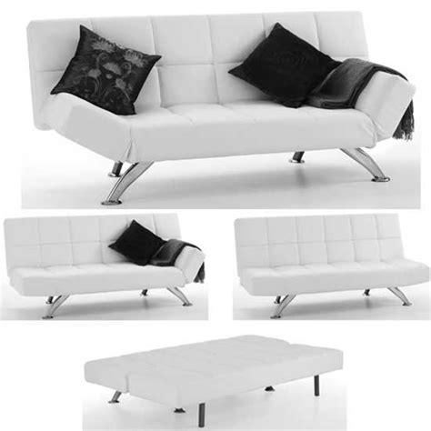 White Faux Leather Sofa Bed Venice Sofa Bed In White Faux Leather With Chrome Legs