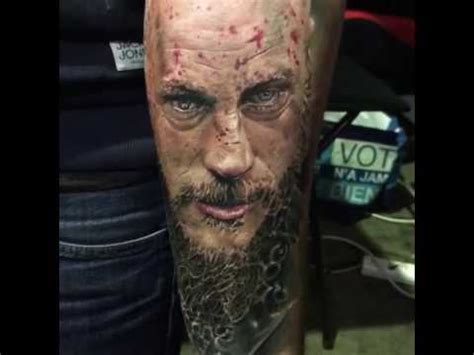 did ragnar have tattoos on his head last year amazing realist portrait tattoo ragnar vikings youtube