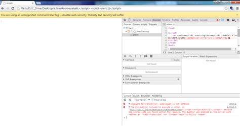 chrome xss auditor cannot turn off xss filter in chrome information