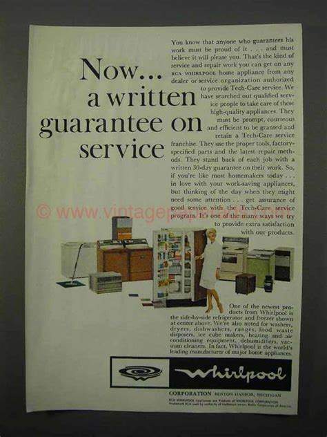 Soft Whirlpool 1959 by 1966 Whirlpool Appliances Ad Guarantee On Service