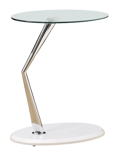 3048 Glossy White Chrome Metal Accent Table From Monarch