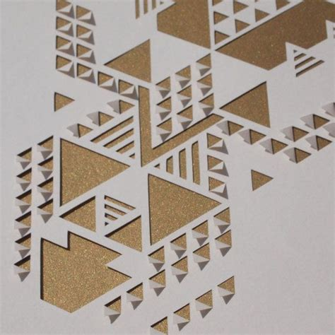 geometric pattern cutting a die cut and hand folded a4 papercut featuring a cut out