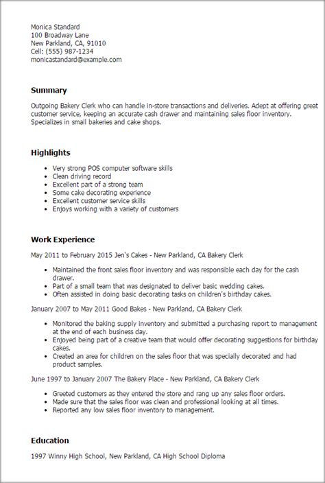 Sle Resume For Baker 28 baker sle resume www collegesinpa org