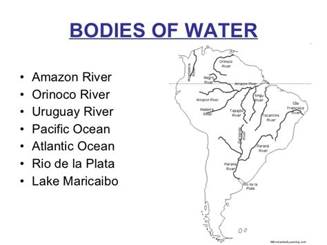 south america map bodies of water south america intro ppt