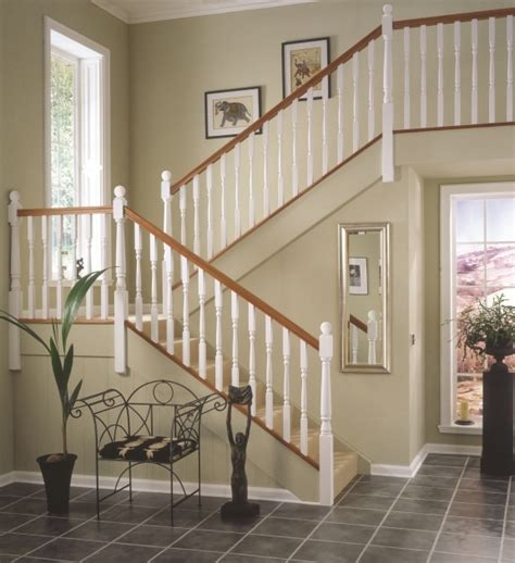 oak staircase white spindles design treads combine with