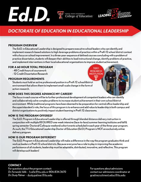 Educational Leadership Doctoral Programs by Educational Leadership Ed D Graduate Program