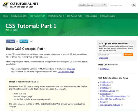 html tutorial with css 40 css reference websites and resources
