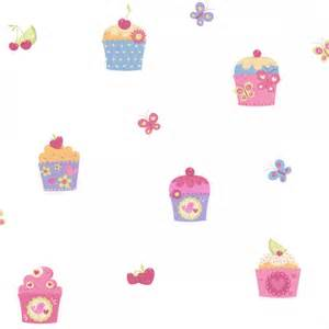 Childrens Animal Wall Stickers designer selection cup cake butterfly kids wallpaper white