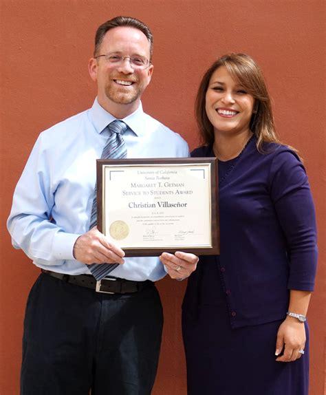Award Letter Ucsb graduate division s christian villasenor wins getman