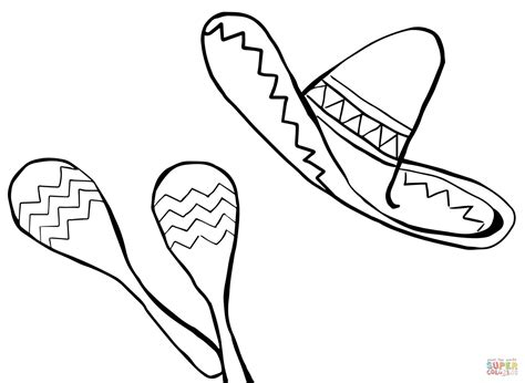 maracas and sombrero coloring online super coloring