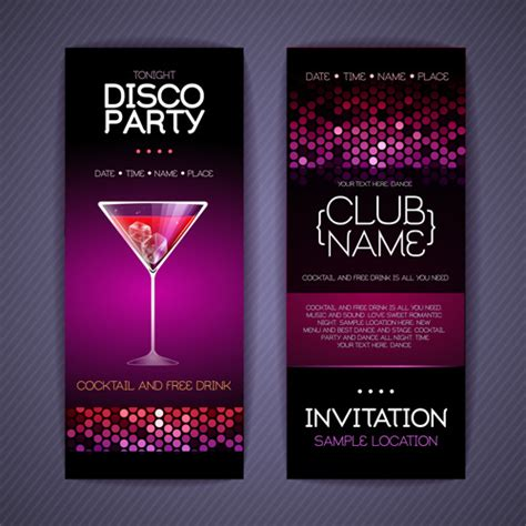 design party invitation disco party invitation cards creative vector free vector