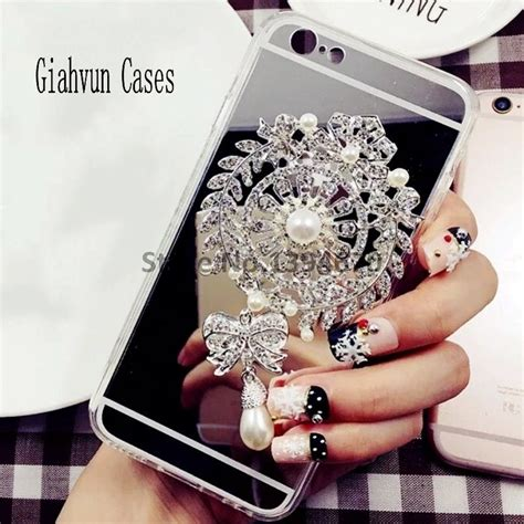 Mirror Huawei P8lite bling pearl brooch mirror phone back cover for huawei