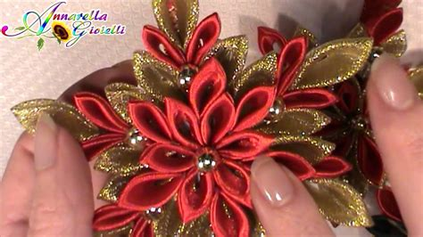 fiori di stoffa kanzashi update creazioni dic 2014 kanzashi di natale fiori di
