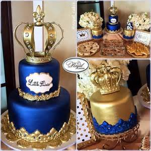 quot little prince quot royal cakes royal blue amp gold birthday cake with crowns www royalcakesla com