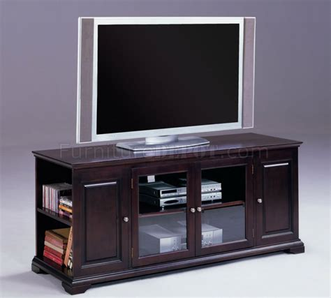 Tv Stand Glass Doors Espresso Finish Modern Tv Stand W Storage Sides Glass Doors