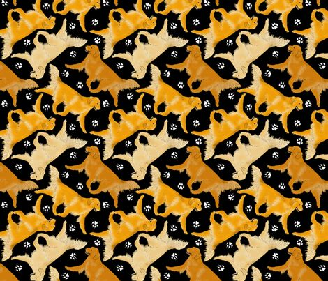 golden retriever paw print trotting golden retrievers and paw prints black fabric rusticcorgi spoonflower