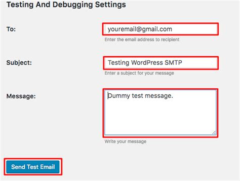 smtp test how to configure to send emails using smtp