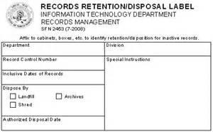certificate of disposal template records management program implementation dakota itd