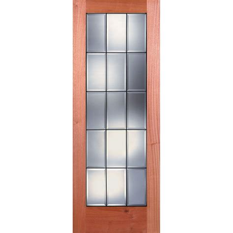 15 Lite Interior Door Feather River Doors 36 In X 80 In 15 Lite Unfinished Mahogany Clear Bevel Patina Woodgrain