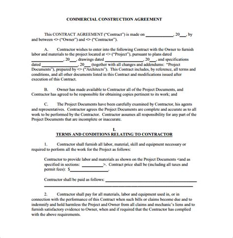 template for contractor agreement construction contract 9 documents in pdf