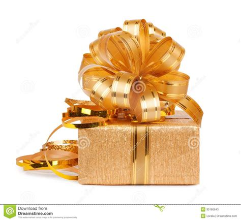 beautiful gifts beautiful gift box in gold wrapping paper stock image